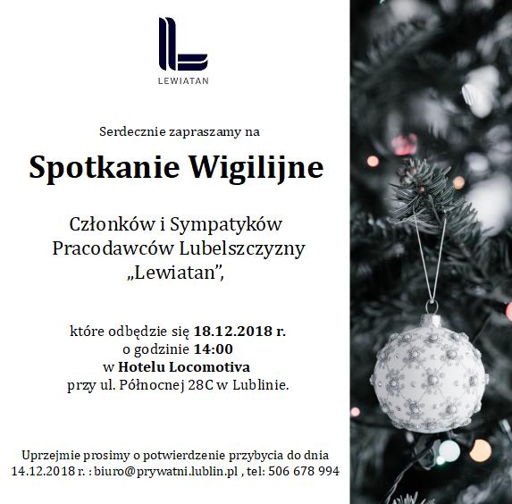Zaproszenie Spotkanie Wigilijne PL Lewiatan 2018_18.12.2018