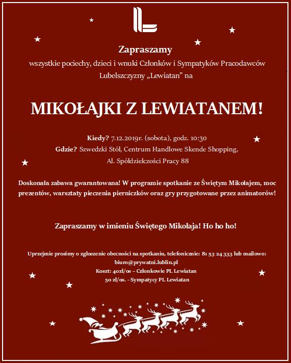 Zaproszenie_Mikołajki z Lewiatanem 07.12.2019
